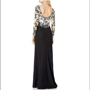 Tadashi Shoji Lace Scoop back Black and white gown